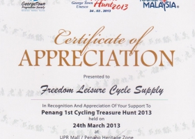 Penang Bicycle Rental Appreciation Cert